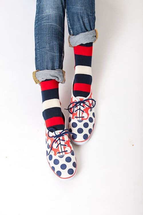 Fashion Shoes, Happy Socks, Polka Dots Shoes, Red White Blue, Girls Fashion, Colors Shoes, Girls Shoes, Blue Polka Dots, Style Fashion