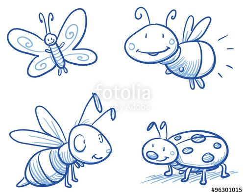 Vektor: Set of cute little cartoon insects: lady bug, bee, butterfly and firefly. For children or baby shower cards. Hand drawn vector illustration.