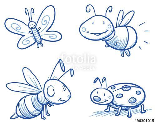 """Laden Sie den lizenzfreien Vektor """"Set of cute little cartoon insects: lady bug, bee, butterfly and firefly. For children or baby shower cards. Hand drawn vector illustration."""" von danielabarreto zum günstigen Preis auf Fotolia.com herunter. Stöbern Sie in unserer Bilddatenbank und finden Sie schnell das perfekte Stockbild für Ihr Marketing-Projekt!"""