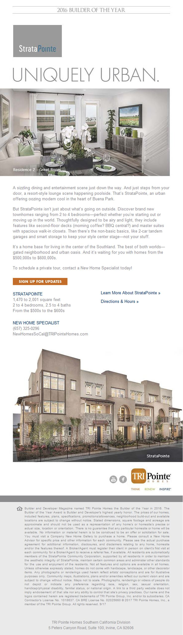 New Homes for Sale in Buena Park, California  StrataPointe in Buena Park: Cool, Modern and Urban New Townhomes  Private, Gated Collection of Townhomes minutes away from entertainment and shopping complexes.  Master Suites with Spacious Walk-In Closets  |   2nd Floor Decks   |  2-Car Tandem Garages  & Smart Storage!  Schedule a Private Tour Today!  For more Details: https://www.tripointehomes.com/southern-california/stratapointe/