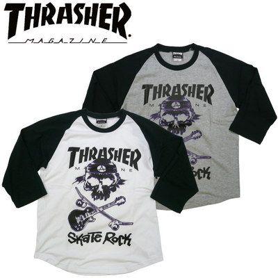 スラッシャー THRASHER 新作 ラグラン七分袖Tシャツ SKATE ROCK スケートボード スケボーショップ SK8