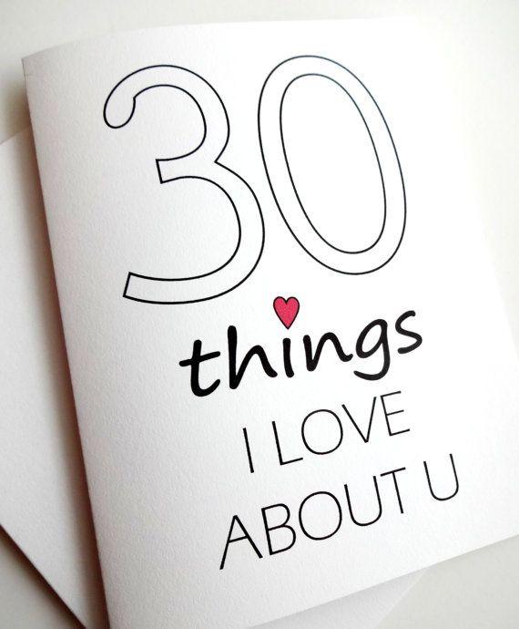 30 Dinge die ich an dir Liebe Karte  Jubiläum  von lilcubby auf Etsy, $3.95