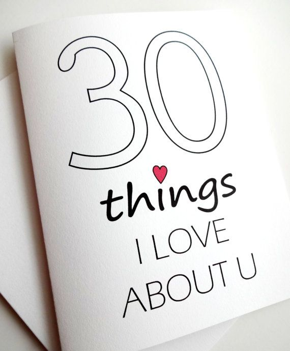 30 Things I Love About You card - Anniversary - Birthday - Wedding - Groom