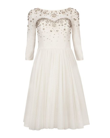 Crystal embellished evening dress - Cream | Dresses | Ted Baker FR - 1410 euros Robe courte mariage civil
