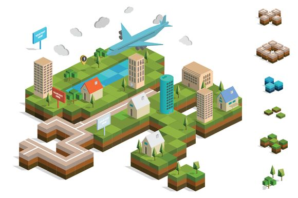 Check out Isometric City Map Builder Vector by Designers Revolution on Creative Market