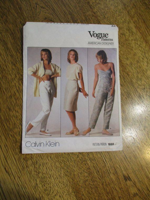 1980's DESIGNER Calvin Klein Pencil Skirt & Slim Tapered