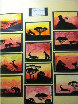 5th grade art - watercolor sunsets.