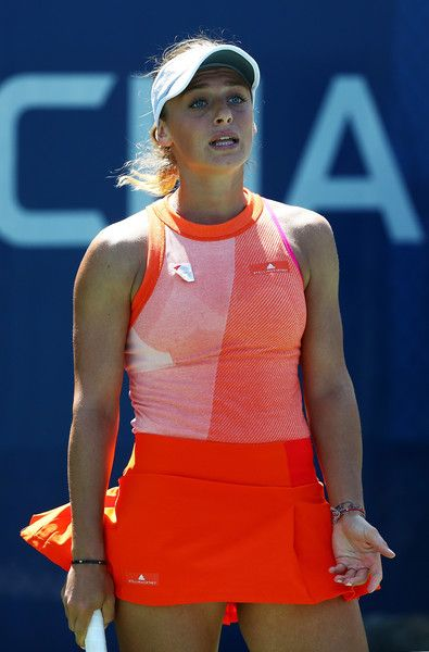 Ana Bogdan of Romania reacts against Taylor Townsend of the United States during their first round Women's Singles match on Day Three of the 2017 US Open at the USTA Billie Jean King National Tennis Center on August 30, 2017 in the Flushing neighborhood of the Queens borough of New York City. (Aug. 29, 2017 - Source: Al Bello/Getty Images North America)