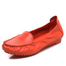 Spring Autumn 100% Real Cow Leather Women Comfortable Flats Candy Color High Quality Old Ladies Slip On Shoes Big Size Loafers //FREE Shipping Worldwide //