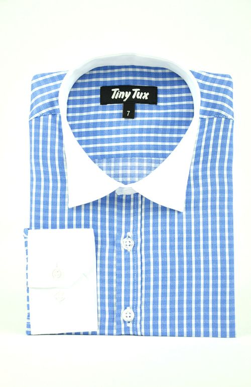 Burlington check blue boys shirt