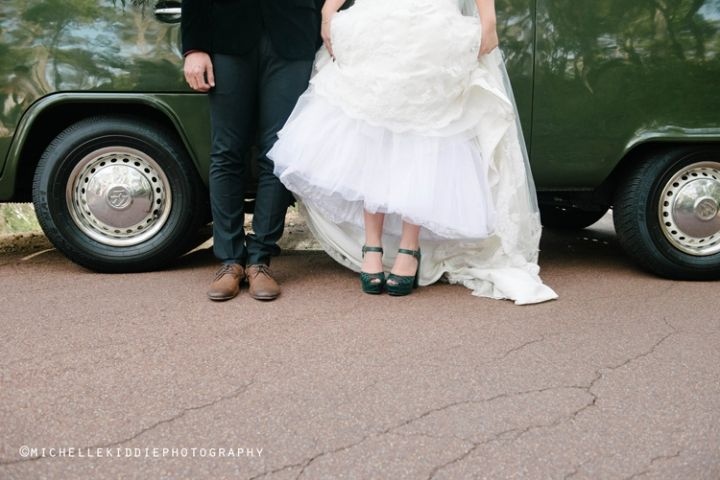 Green wedding shoes.