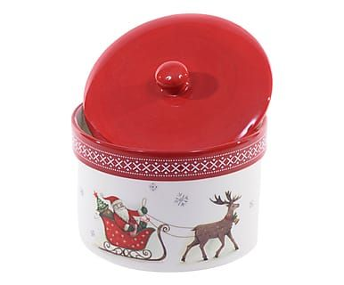 Barattolo in ceramica Slitta bianco e rosso, d 15/h 10 cm