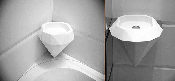 Lavabo y jabonera en forma de diamante realizados en LG Hi-Macs®. Diseño exclusivo.