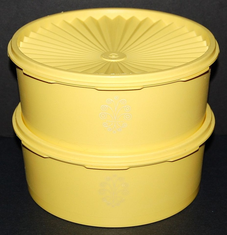 2 Harvest Gold Containers W/ Lids: KC