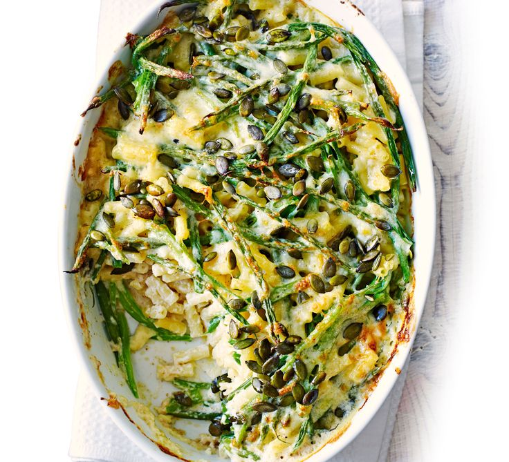 Runner and green beans make a delicious addition to a comforting pasta bake - top with pumpkin seeds for added crunch