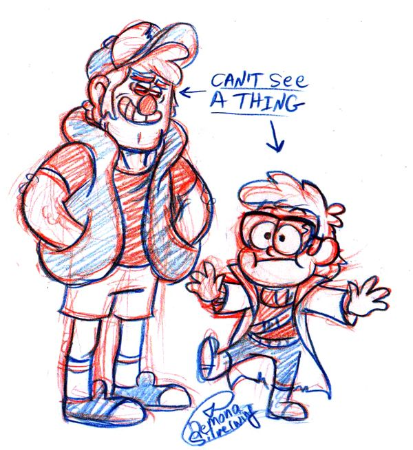 Anonymous said: For the drawing prompt: dipper and ford clothing swap!! Answer:
