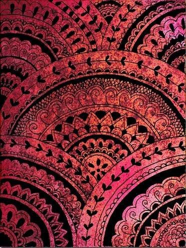 pink, orange, black, waves, geo pattern