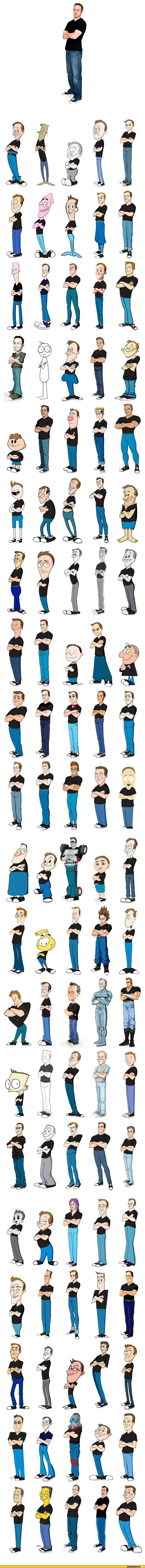 Many different interpretations of the same pose - Male Body study - man standing - Drawing Reference
