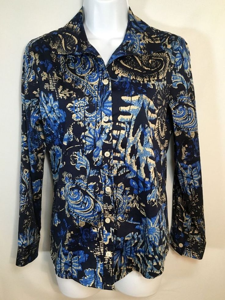 Women's CHICO'S Blue Hawaiian Floral Cotton Button Down Shirt Size 0 #Chicos #ButtonDownShirt #CareerCasualWeartoWork