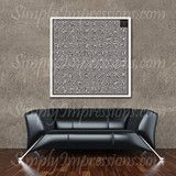 """Al-Asma-Ul-Husna Square Kufic  Beautifully written square Kufic design with the 99 names of Allah. Gift the decal on a pained canvas for a personal finish.  We have three sizes available- Medium measures 28""""x28"""" Large measure 40""""x40"""" when installed and come in 2 sheets. X Large measures 54""""x54"""" when installed and come in 2 sheets."""