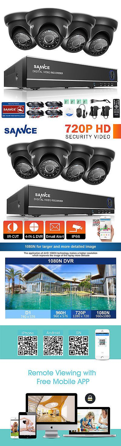 Surveillance Security Systems: Sannce 4 Indoor Outdoor Ir Home Surveillance Camera System 4Ch 1080N Hd Tvi Dvr BUY IT NOW ONLY: $81.0