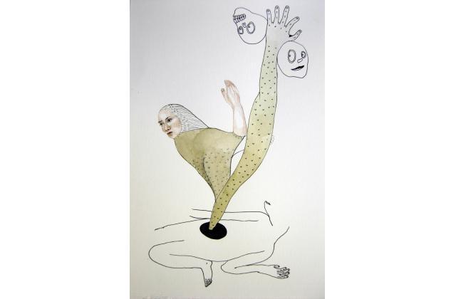 The Siren and her Sailors (Collaboration Erik Jerezano & Kristin Bjornerud)  |Encre et aquarelle sur papier (ink and watercolour on paper) |2010