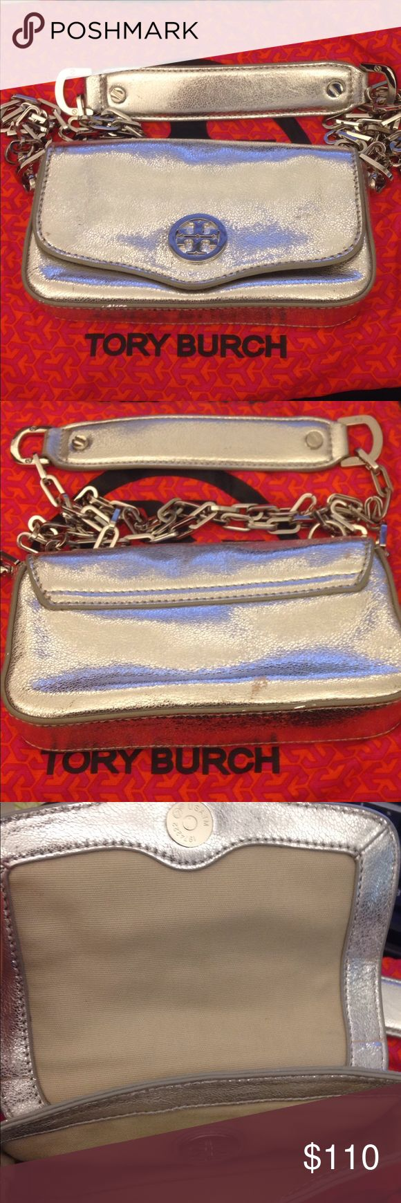Tory Burch Silver shoulder bag Pre owned Tory Burch Silver shoulder bar or cross body. Good used condition. Showed some wear showing little scratches . Pls check photos Tory Burch Bags Crossbody Bags