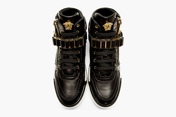Versace Black Leather High-Top Spring/Summer 2014 Sneakers -