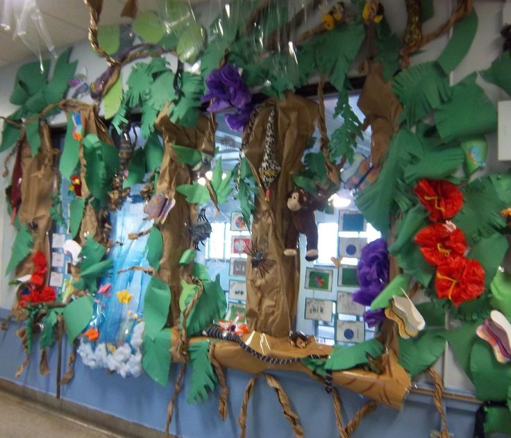Classroom Rainforest Ideas ~ Turn an empty hallway into a tropical rainforest old