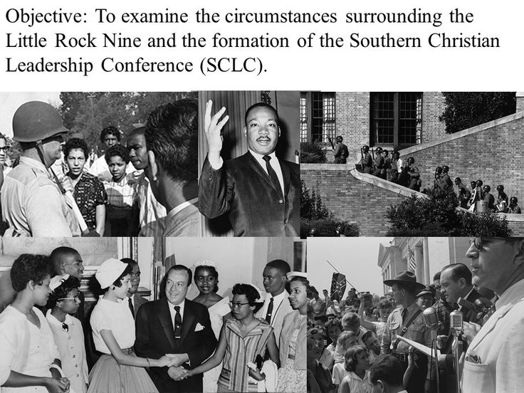 Little Rock Nine and SCLC PowerPoint Presentation Key Terms and People: - Brown v. BOE of Topeka, KS - Thurgood Marshall - 14th Amendment - Little Rock Nine (Thelma Mothershed, Minnijean Brown, Elizabeth Eckford, Gloria Ray, Jefferson Thomas, Melba Pattillo, Terrence Roberts, Carlotta Walls, Ernest Green) - Daisy Bates - Governor Orval Faubus - President Dwight D. Eisenhower  http://mrberlin.com/littlerocknineandsclcpowerpointpresentation.aspx