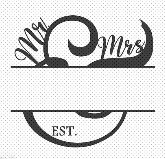 Mr. & Mrs. split monogram SVG file for Cricut Design Space