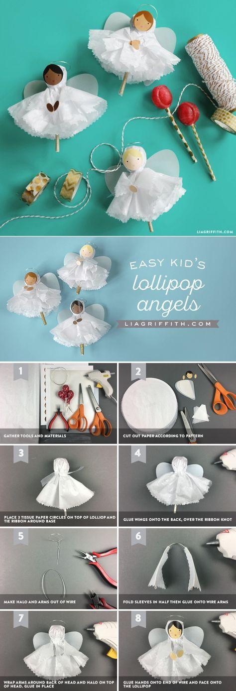 Tissue Paper Angels DIY Kid's Holiday Craft www.LiaGriffith.com #DIYKids #KidsDIY #holidaycrafts #diyholiday #DIYChristmas #ChristmasDIY #HolidayInspiration