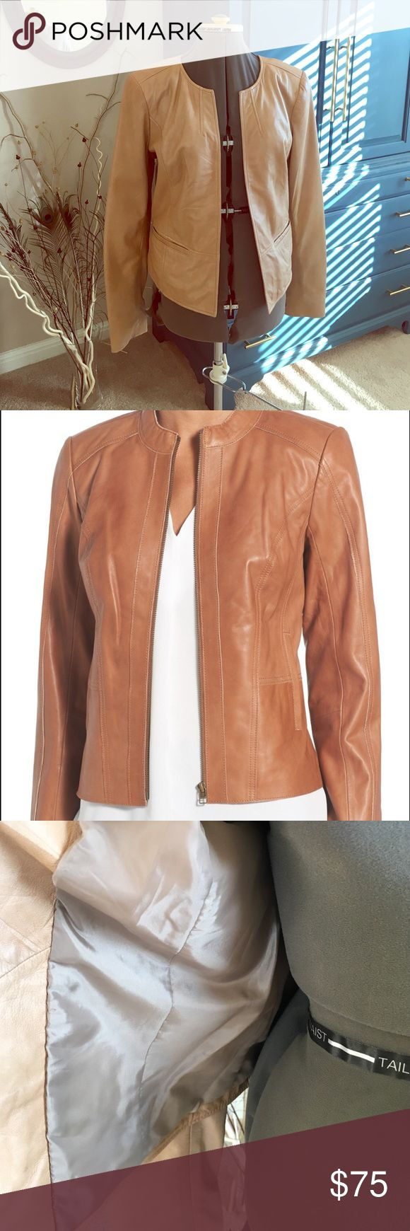 Halogen Camel Leather Jacket Never used. Two front pockets. No closures. Fully lined. There are some discolorations but it was that way at original purchase so may be normal. Light padding in shoulders. Second photo is a stock photo of similar at Nordstrom. Halogen Jackets & Coats