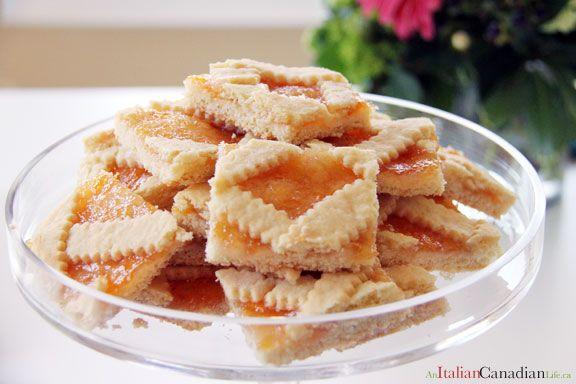 Italian Jam squares called Crostata. Calabria region. Recipe from www.anitaliancanadianlife.ca