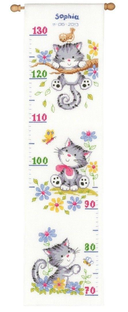 Groeimeter Spelende Kittens -Borduurpakket borduren - Vervaco