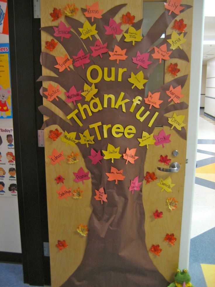 """""""The Thankful Tree"""" : students write down something they are thankful for on leaves and place them on the tree"""