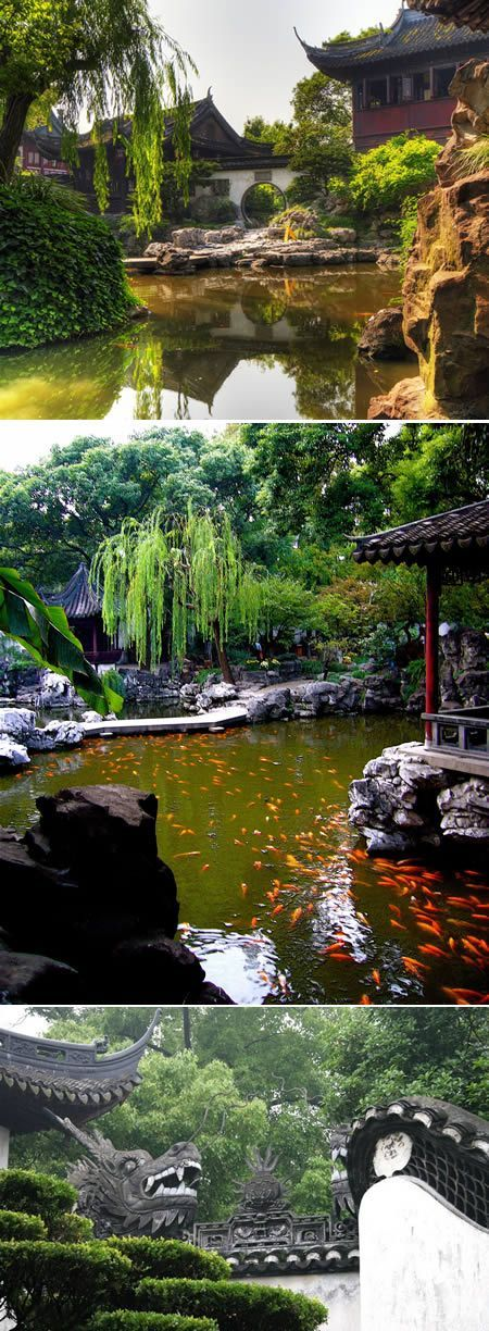 Yuyuan Garden – CHINA.  Yuyuan Garden is believed to be built in the Ming Dynasty more than 400 years ago. Built in traditional Chinese style with numerous rock and tree garden areas, ponds, dragon-lined walls and numerous doorways and zigzagging bridges separating the various garden areas and pavilions.