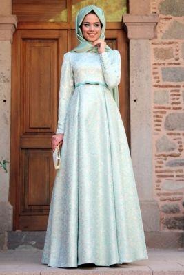 Mevra Mint Brokar Tesettür Abiye Elbise
