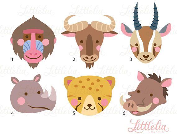 African Animal Head Clipart Animal Face 17056 African Animals Clip Art Animal Faces