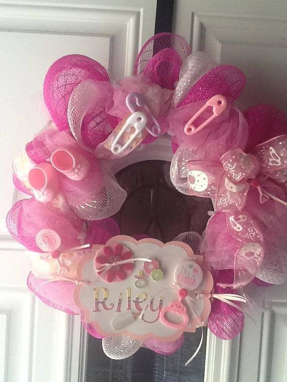 Personalized Baby Girl Deco Mesh Wreath