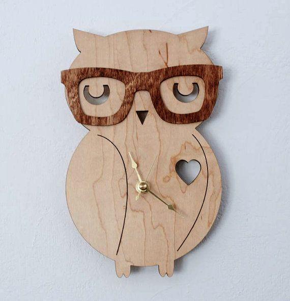 Nerd Owl Clock  Handmade  laser cut by UnpossibleCuts on Etsy... Tori needs this!!