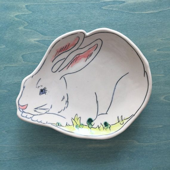 Made-To-Order Hungry Rabbit Dessert Plate, Bread Plate, White Rabbit, porcelain plate -  Woodland series
