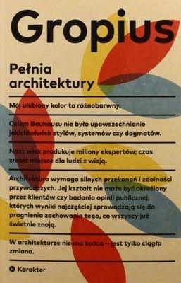 PEŁNIA ARCHITEKTURY - Walter Gropius (KSIĄŻKA)