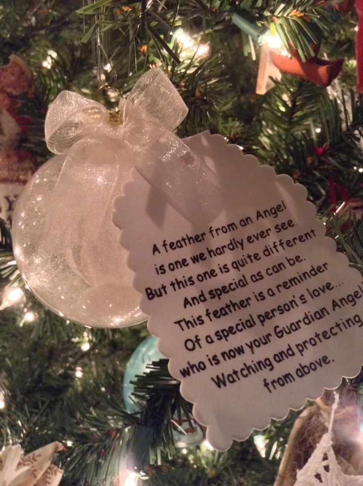 Guardian Angel ornament. Clear ornament filled with some glitter and a single white feather. In memory of loved ones who are celebrating Christmas in Heaven.