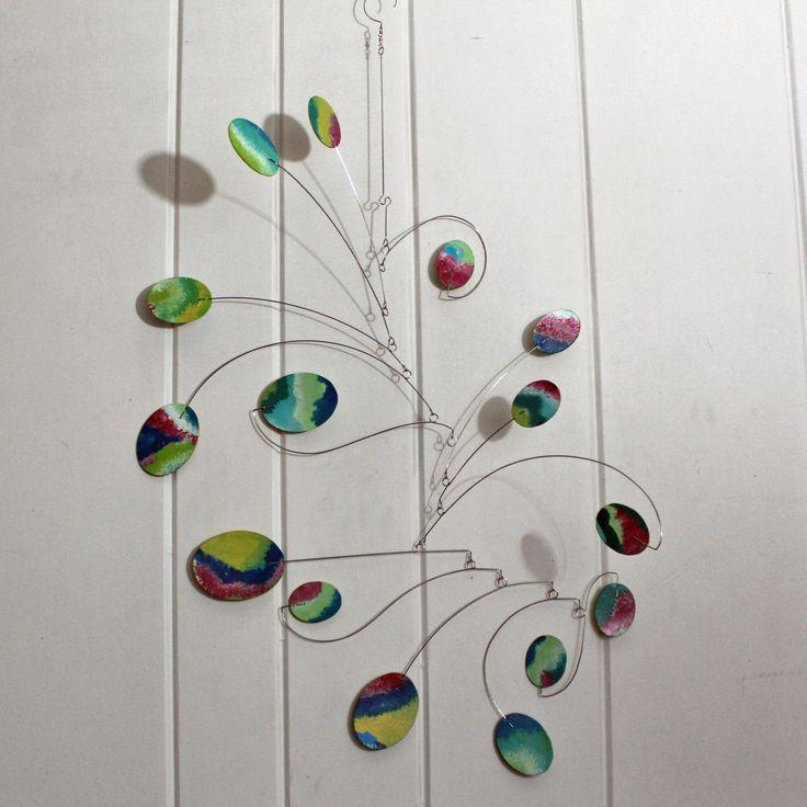 Hanging MOBILE scultura acquerello arte Mobile di SkysetterMobiles