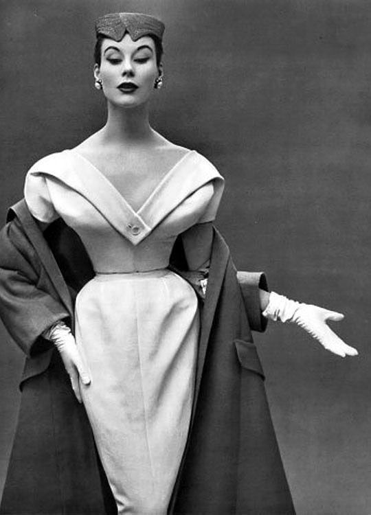 Christian Dior dinner dress and coat (1953) | The New Look Gets Another Look | Hint Fashion Magazine