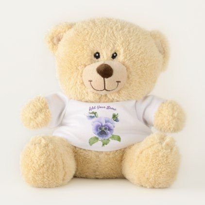 Pansy Nosegay Personalized Teddy Bear - flowers floral flower design unique style