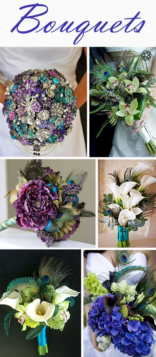 Bouquets in Peacock Colors - Gorgeous Rich Colors for Wedding Decorations!