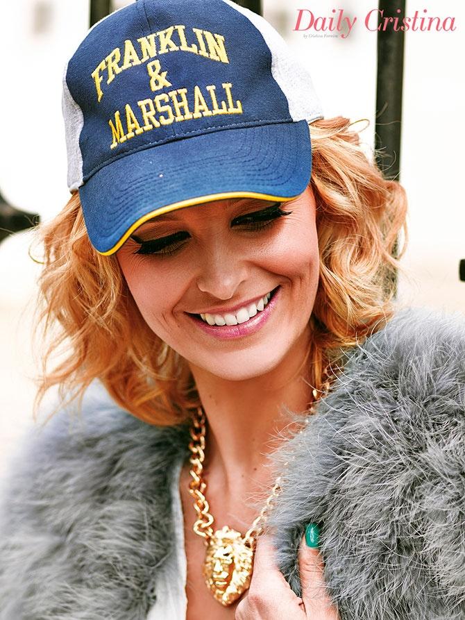 Tv presenter Cristina Ferreira in a Franklin & Marshall basketball cap.
