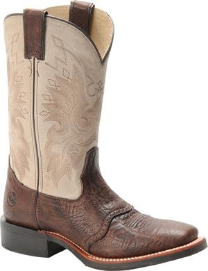 """Women's Double H Boot 11"""" Square Toe Roper - Tobacco/Ivory"""